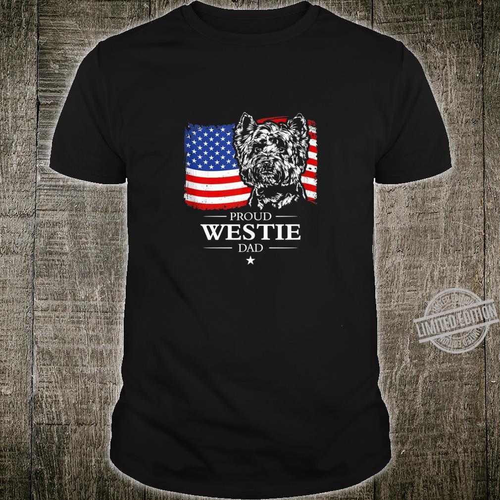 Mens Proud Westie Dad American Flag patriotic dog Shirt