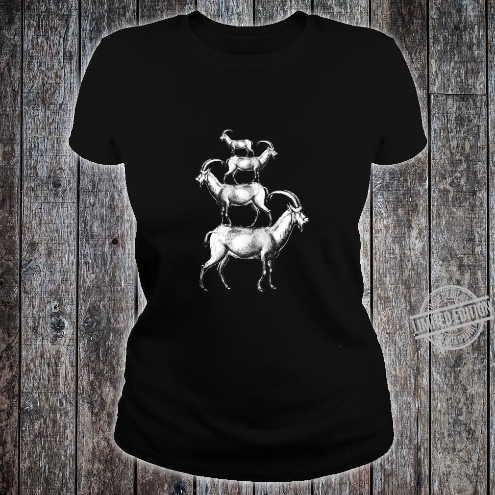 Vintage Goats Pile Farmer Retro Mountains Goats Shirt ladies tee