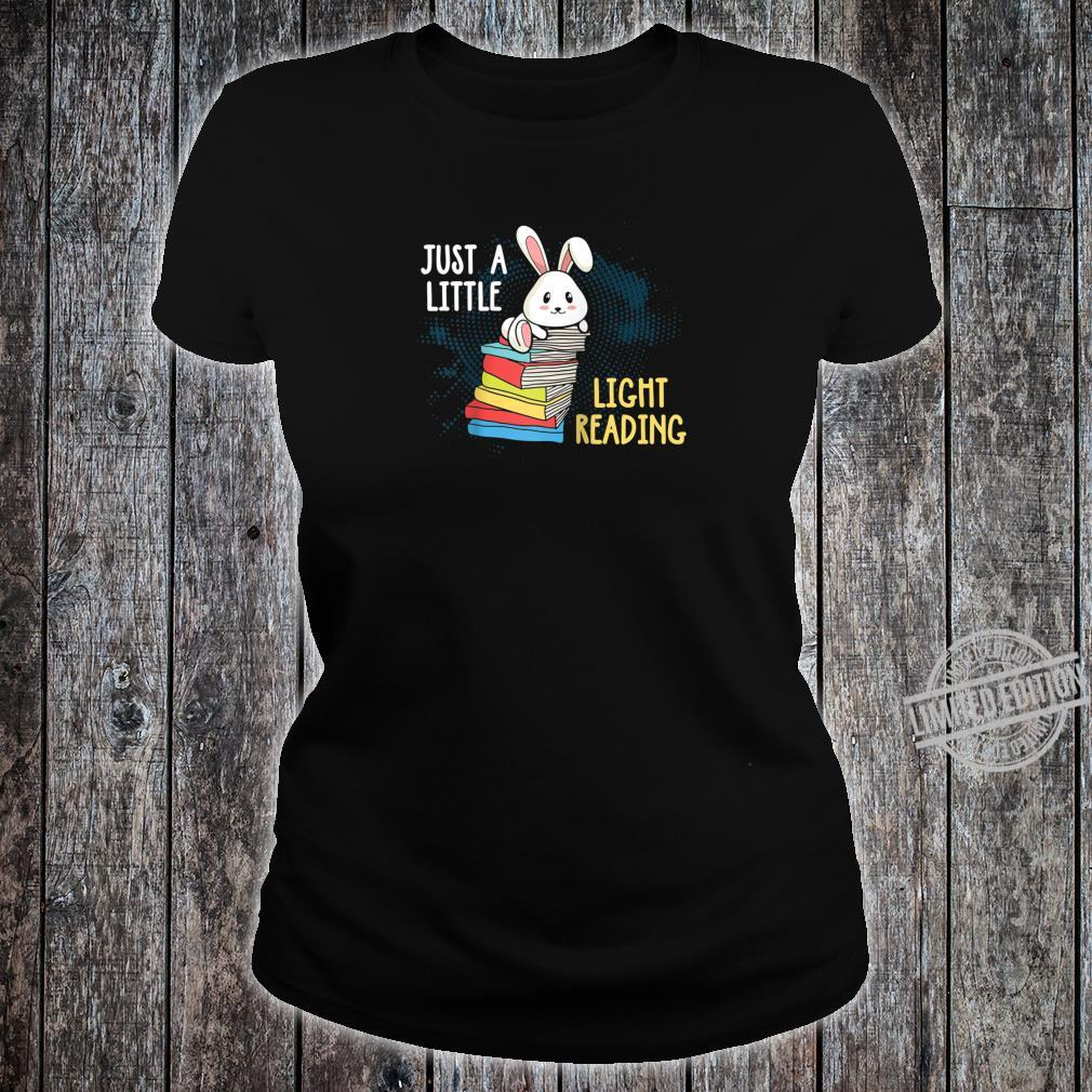 Vintage Just A Little Light Reading Bunny Reader Books Shirt ladies tee