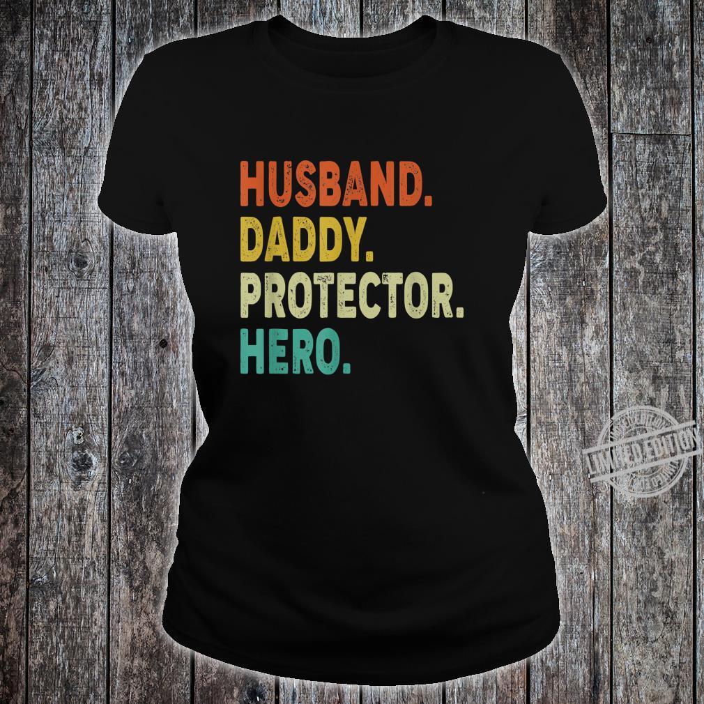 Vintage Retro Husband Daddy Protector Hero Shirt Fathers Day Shirt ladies tee