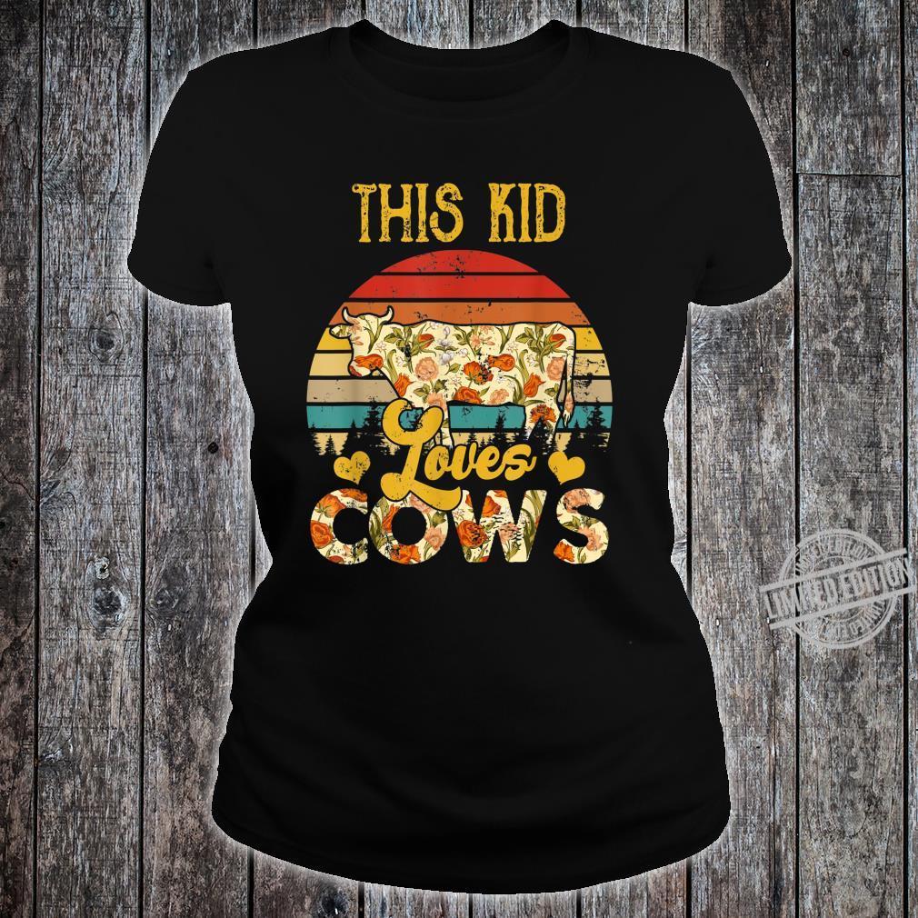 Vintage Retro This Kid Loves Cows Floral Cow Shirt ladies tee