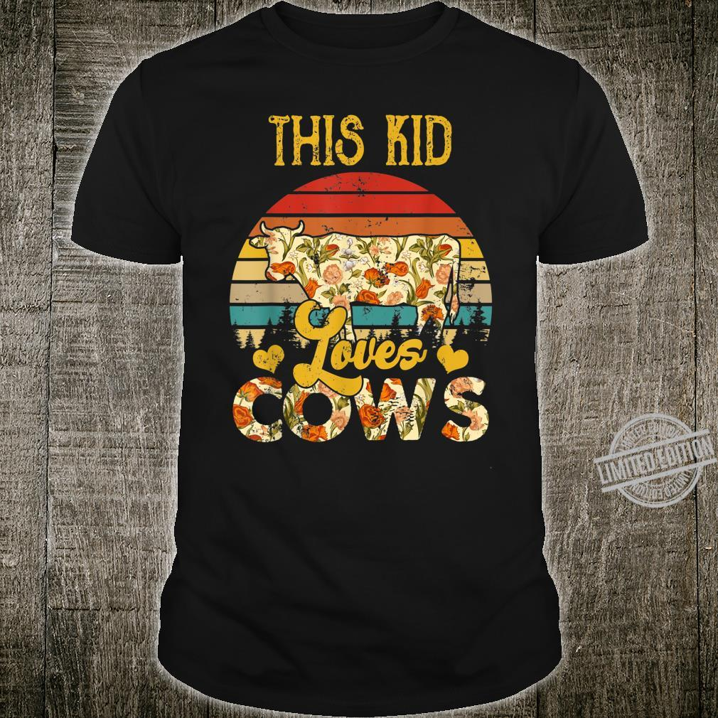 Vintage Retro This Kid Loves Cows Floral Cow Shirt