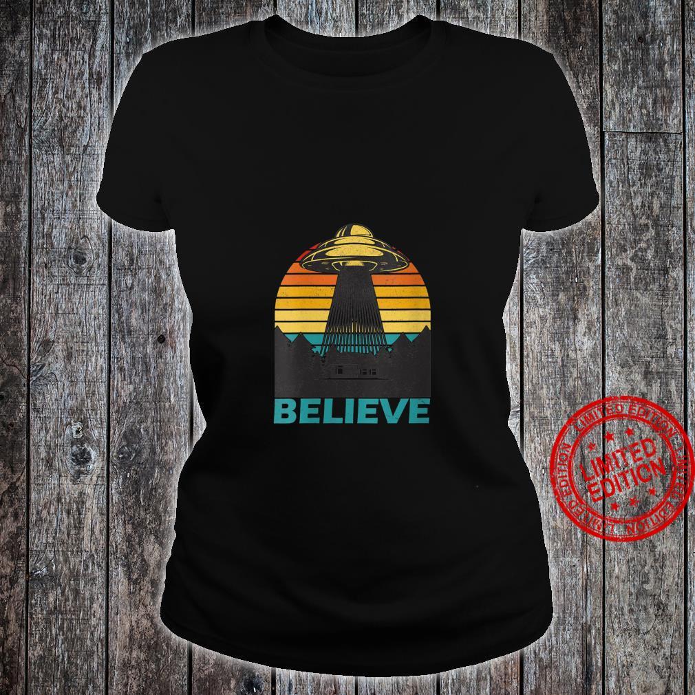 Womens Alien Spaceship UFO Retro Vintage Believe Extraterrestrial Shirt ladies tee